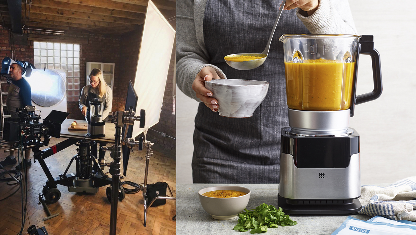 behind the scenes on shoot and soup maker